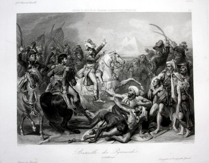 Bataille des Pyramides - Pyramide battle Schlacht Africa Ansicht vue estampe Stahlstich antique print