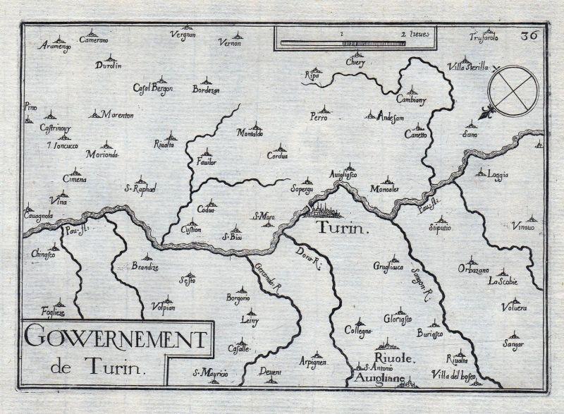 Gouvernement de Turin - Torino Turin Italia gravure estampe Kupferstich Tassin