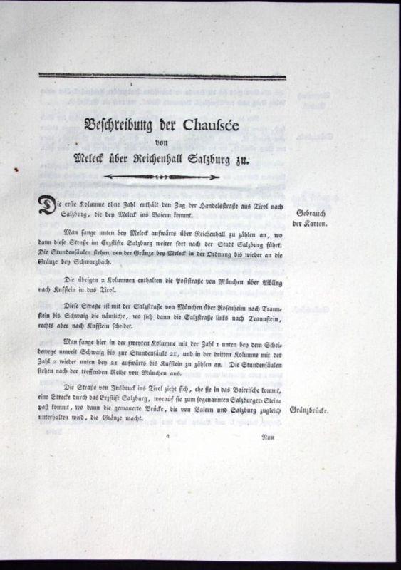 Beschreibung der Chaussee von Meleck über Reichenhall Salzburg zu - Beschreibung Meleck Reichenhall Salzburg K