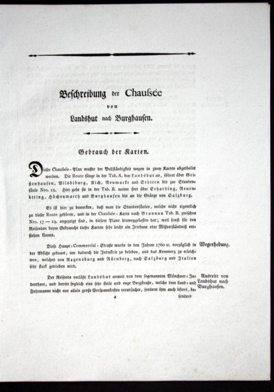 Beschreibung der Chaussee von Landshut nach Burghausen - Beschreibung Textblätter Karte Landshut Burghausen At