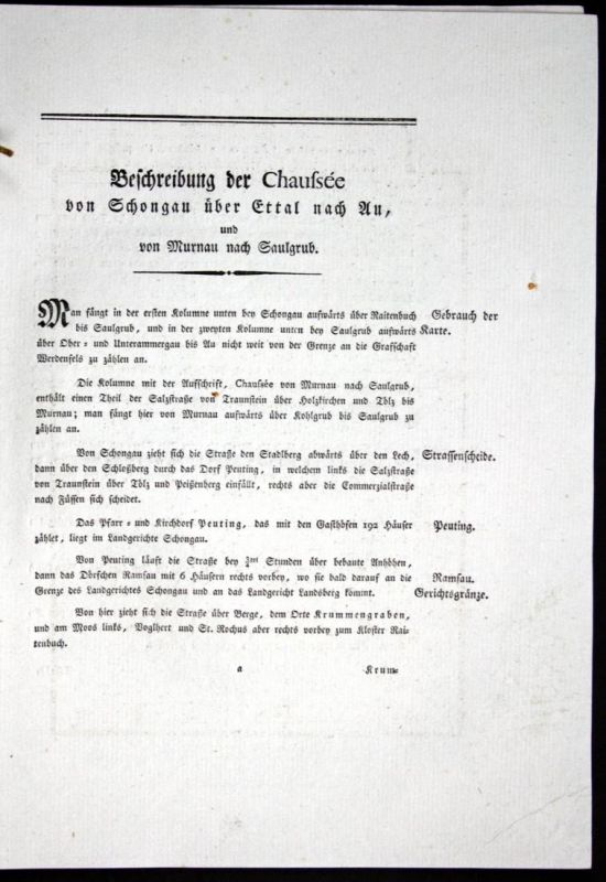Beschreibung der Chaussee von Schongau über Ettal nach Au, und von Murnau nach Saulgrub - Beschreibung Textblä