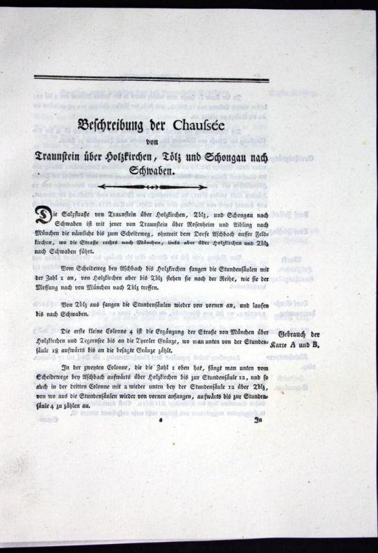 Beschreibung der Chaussee von Traunstein über Holzkirchen, Tölz und Schongau nach Schwaben - Beschreibung Text