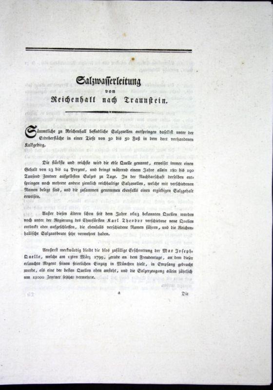 Beschreibung der Chaussee von Reichenhall nach Traunstein - Beschreibung Textblätter Karte Reichenhall Traunst