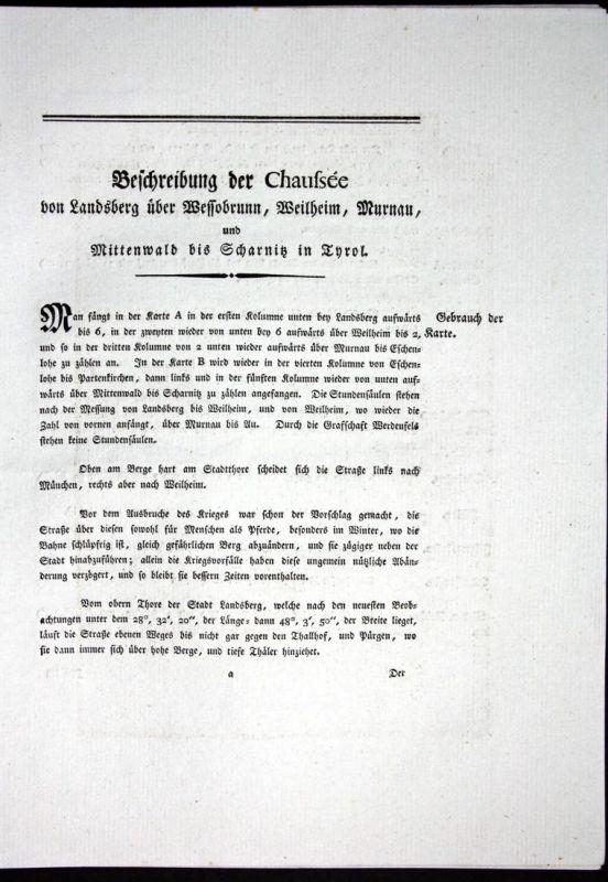 Beschreibung der Chaussee von Landsberg über Wessobrunn, Weilheim, Murnau und Mittenwald bis Scharnitz in Tyro