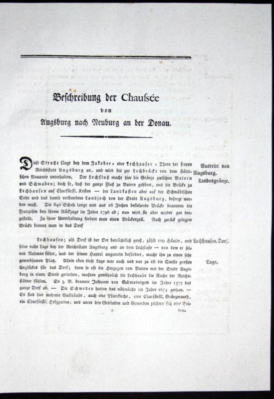 Beschreibung der Chaussee von Augsburg nach Neuburg an der Donau - Beschreibung Textblätter Karte Augsburg Neu