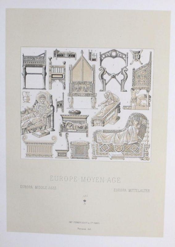 Europa Europe Möbel furniture meuble Original Lithographie lithograph