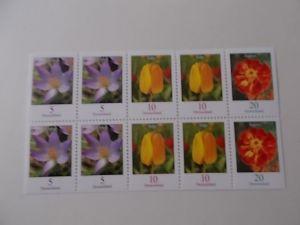Blumen Zusammendruckbogen Postfrisch