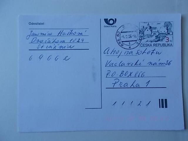 Tschechei Postkarte gelaufen 1996