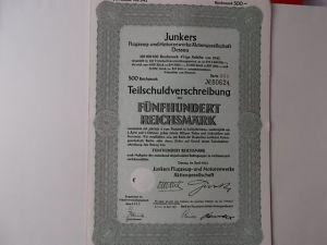 Aktie Junkers Flugzeug-und Motorenwerke Dessau