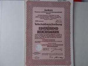 Aktie Junkers Flugzeug und Motorenwerke Dessau