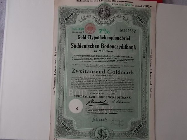 Gold-Hypothekenpfandbrief Süddeutsche Bodencreditbank