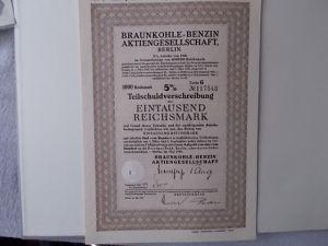 Aktie Braunkohle-Benzin Aktiengesellschaft Berlin