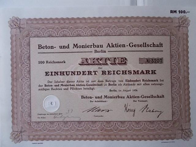Aktie Beton und Monierbau Berlin