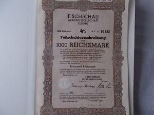 F. Schichau AG Elbing1943  4% Teilschuldverschreibung 1000 Reichsmark