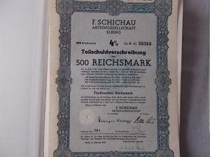 F. Schichau AG Elbing1943  4% Teilschuldverschreibung 500 Reichsmark