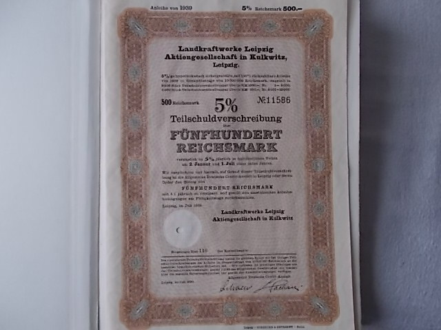 Landkraftwerke Leipzig AG Kulkwitz 1939  5% Anleihe 500 Reichsmark