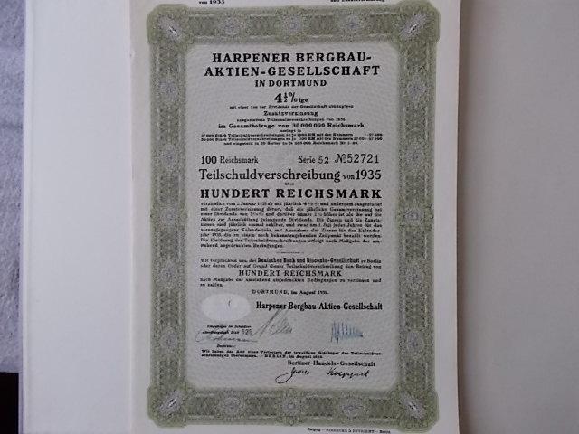 Harpener Bergbau AG Dortmund 1935 Anleihe 4,5% 100Reichsmark