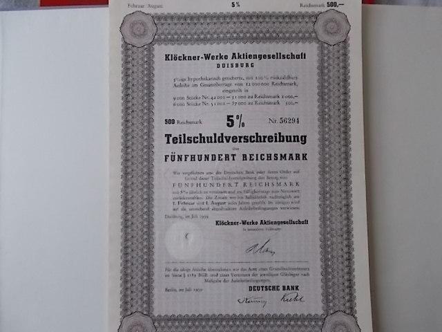 Klöckner-Werke AG Duisburg 1939 Anleihe 5%  500 Reichsmark