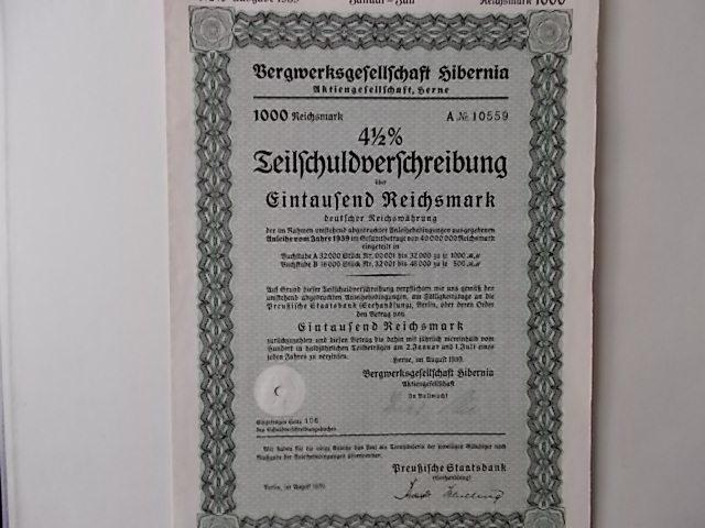 Teilschuldverschreibung Bergwerksgesellschaft Hibernia Herne 1939
