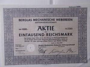 Aktie Berglas Mechanische Webereien AG Berlin 1939