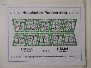 Hessischer Postvertrieb Kleinbogen postfrisch