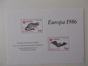 Frankreich Europamarken 1986 ungezähnt in Originalfarben als Luxus- Block