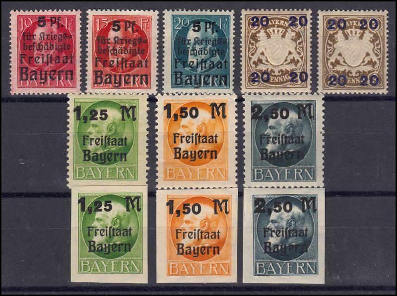 171-177 vier Aufdruck-Ausgaben Bayern mit Untertypen, 11 Marken postfrisch **