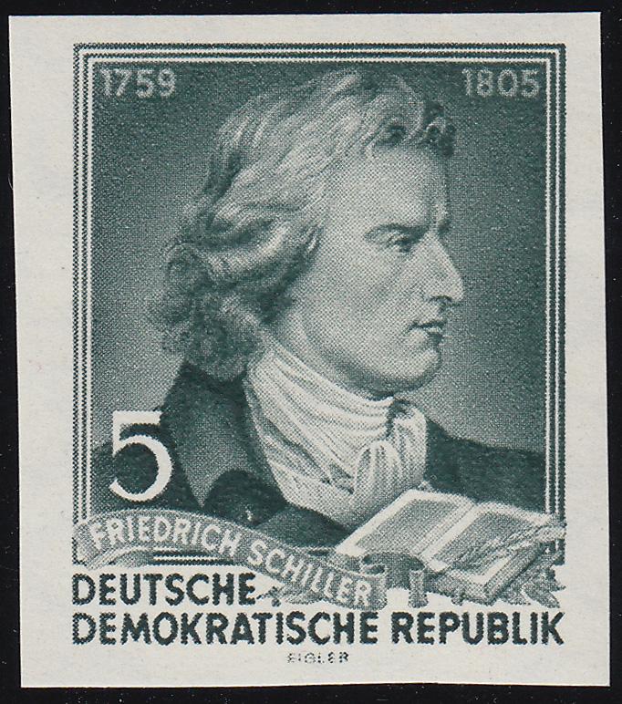 464B XII Friedrich Schiller 5 Pf UNGEZÄHNT,Wz.5 XII **