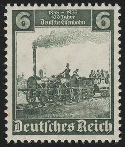 580 Deutsche Eisenbahn 6 Pf - Der Adler, Nürnberg-Fürth, postfrisch **