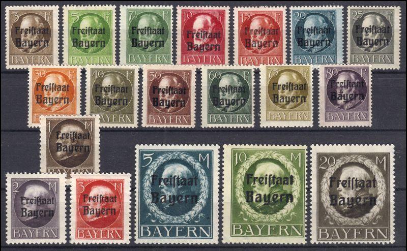 152-170A Aufdruck Freistaat Bayern auf Ludwig gezähnt, Satz kpl. 19 Werte **