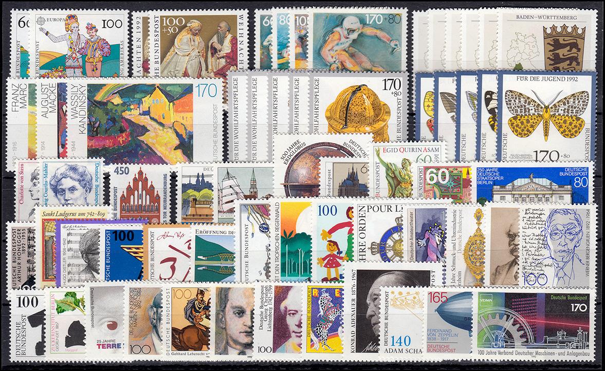 1582-1644 Bund-Jahrgang 1992 komplett postfrisch **