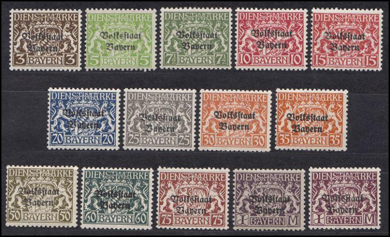 Bayern Dienstmarken 30-43 Staatswappen, Satz komplett 14 Werte postfrisch **