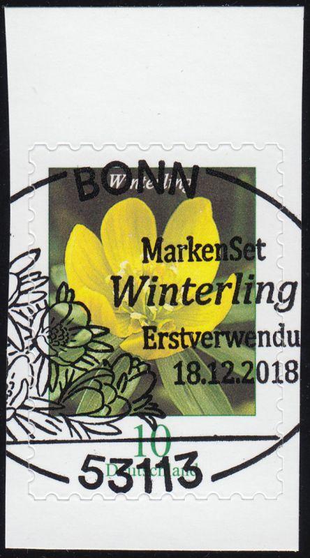 3430 Blume Winterling 10 Cent, selbstklebend aus FB 81, EV-O Bonn 18.12.18