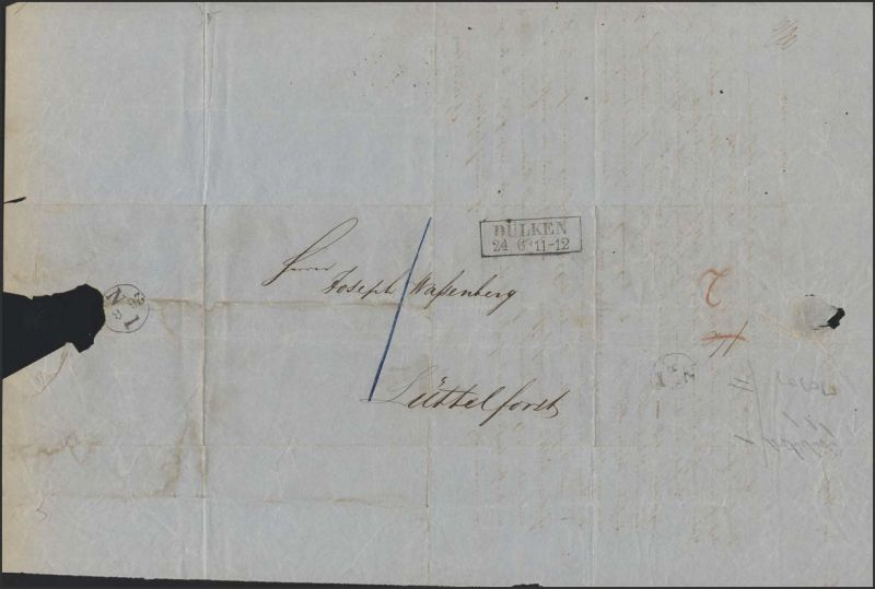 Faltbrief von Dülken 24.6.1854 nach Lüttelforst, Ausgabe-Nummerstempel 26.6.