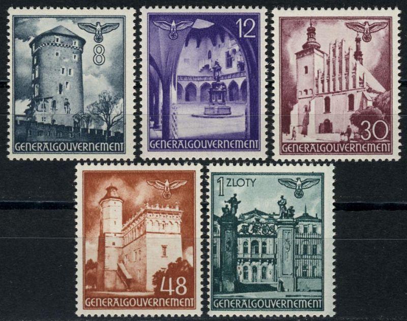 66-70 Freimarken Bauwerke 1941, Satz komplett ** postfrisch