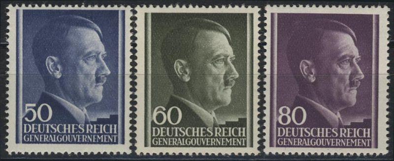 110-112 Freimarken Hitler 1943, Satz komplett ** postfrisch