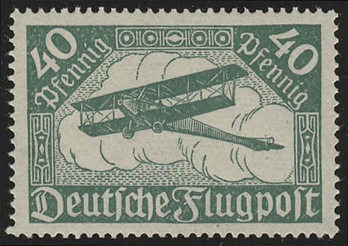 112a Flugpostmarke 40 Pf Doppeldecker **