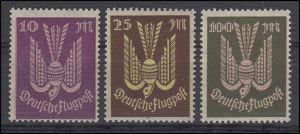 235-237 Flugpostmarken Holztaube 10 bis 100 Mark 1923, 3 Werte, Satz **
