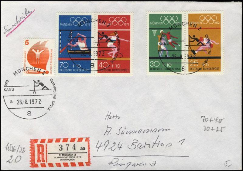 Bund Olympia-Satz Sonder-R-Zettel SSt München / Kanu 1972