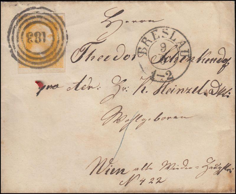 Preußen 8 König Friedrich Wilhelm 3 Sgr EF Bf Nummer 183 BRESLAU 9.9. nach WIEN