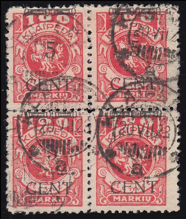 180 S3 Freimarke mit Viererblock mit zwei Typenpaaren II/III, KLAIPEDA 20.7.23