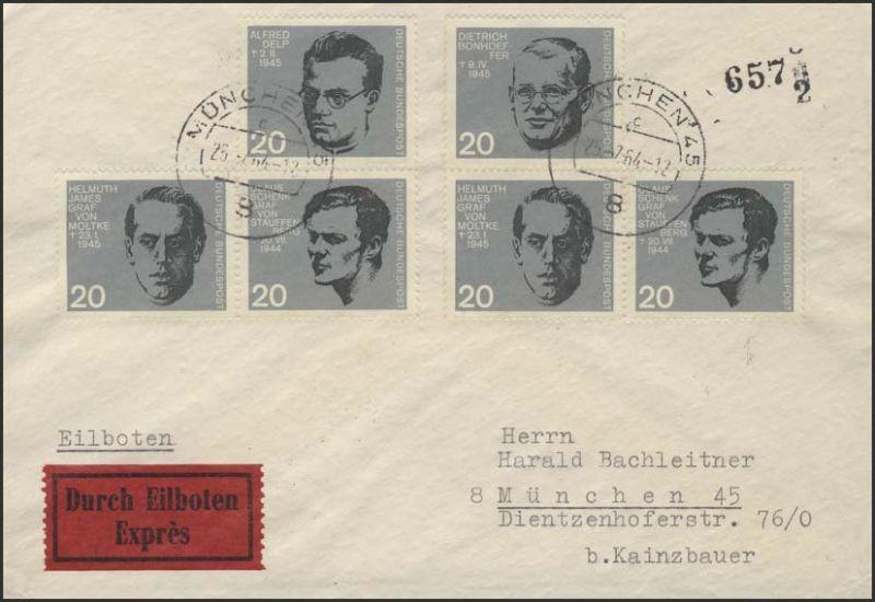 433ff 20.Juli 1944 Zusammendrucke aus Bl.3 auf Orts-Eil-Brief München 25.7.64