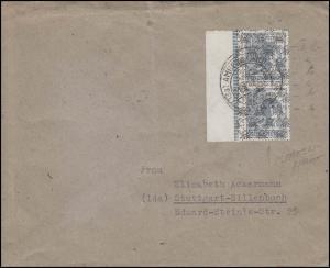 Bizone 40II.2 Netz 12 Pf. Randpaar auf Brief mit Abart II.2, AMBERG 31.8.48
