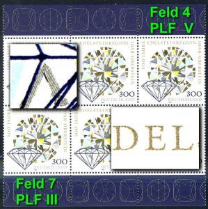 1911III+V Edelsteinregion: 6er-Block mit beiden PLF: III und V, Felder 7+4, **