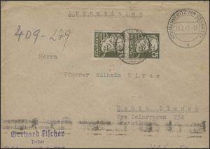 221 Virchow 25 Pf Paar MeF Brief Schwannewitz/Oschatz 30.3.49 TRANSORMA