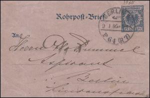 Rohrpost-Umschlag RU 3 Adler 30 BERLIN 9.1.95 P64 (R7) n. BERLIN 9.1.95 P13 (R4)