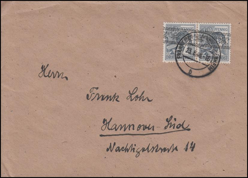 schräger Bandaufdruck 40I Paar MeF auf Brief FRANKFURT-FECHENHEIM 23.8.48