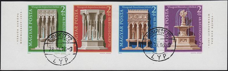 Ungarn 3060-3063B Denkmalschutzjahr 1975, UR-Viererstreifen ungezähnt gestempelt