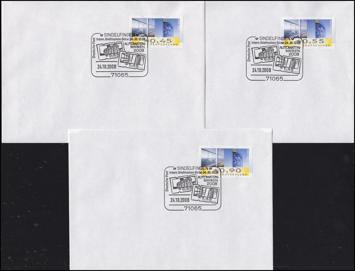 ATM 7 Post Tower Bonn TS 1, 6 Werte 45-390 C: 6 FDC ESSt Sindelfingen 24.10.08