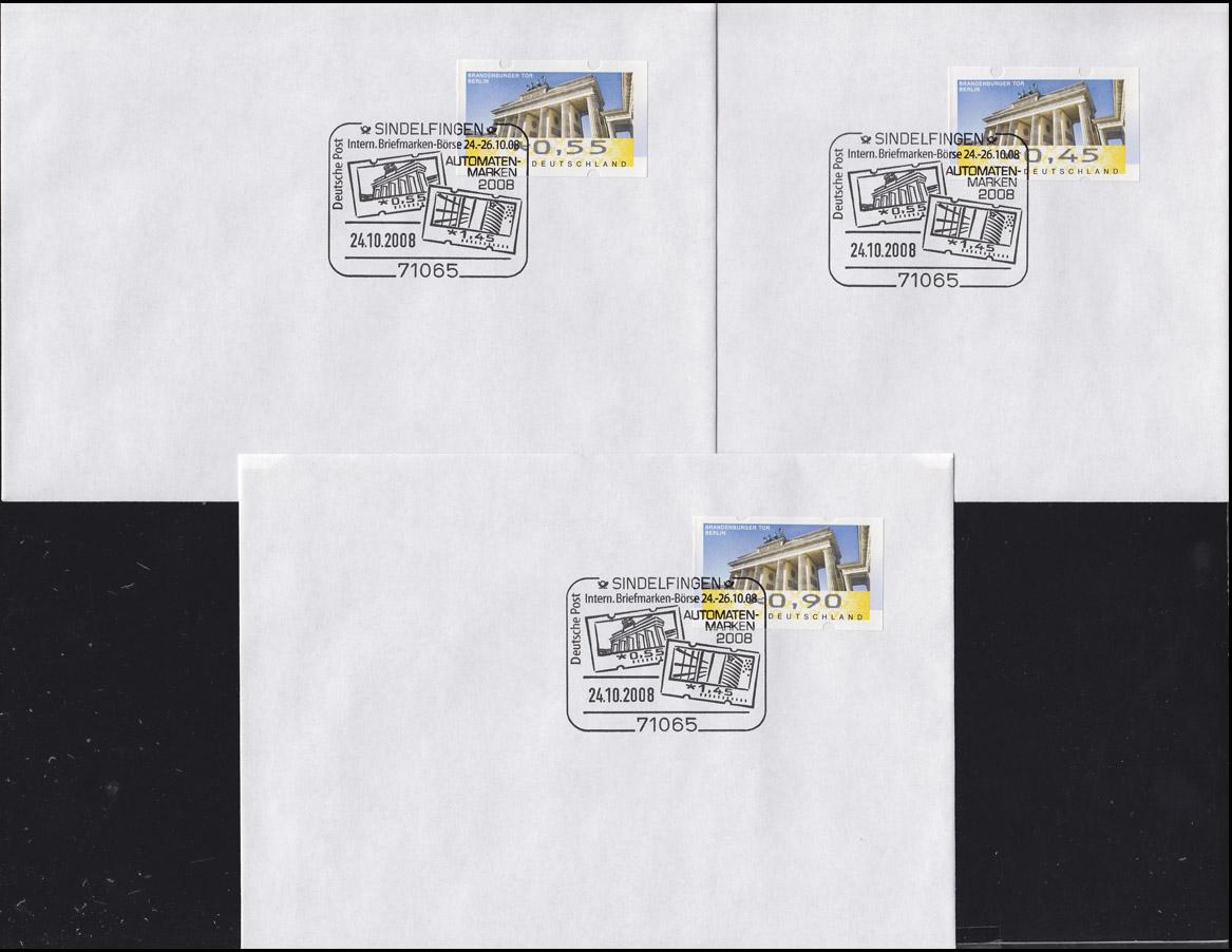 ATM 6 Brandenburger Tor TS 1, 6 Werte 45-390 C: 6 FDC ESSt Sindelfingen 24.10.08